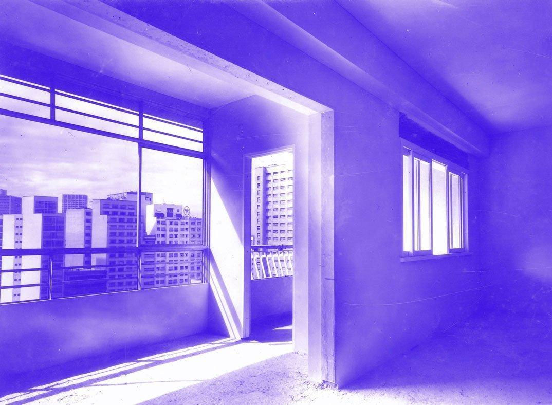 Apartamento do Edifício Louvre em construção, sem data. Fotografia: Studio Zanella.